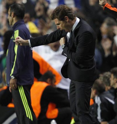 Chelsea manager Andre Villas-Boas celebrates their second goal during their Champions League Group E soccer match against Bayer Leverkusen in London